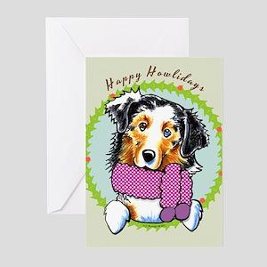 Australian Shepherd Happy Howlidays Greeting Cards