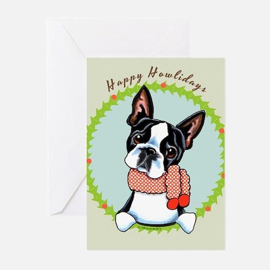 Boston Terrier Happy Howlidays Greeting Cards (Pk