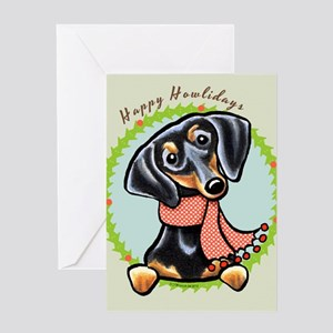 B/T Dachshund Happy Howlidays Greeting Card