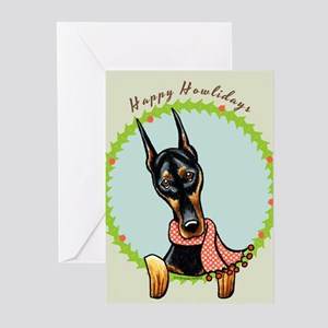 Doberman Happy Howlidays Greeting Cards (Pk of 20)
