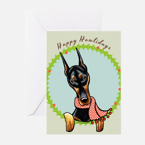 Doberman Happy Howlidays Greeting Cards (Pk of 20)