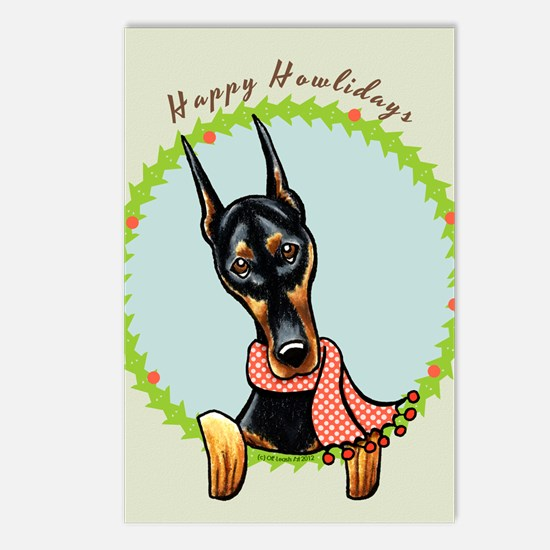 Doberman Happy Howlidays Postcards (Package of 8)