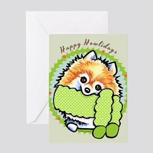 Pomeranian Happy Howlidays Greeting Card