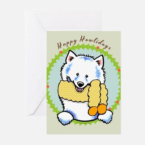 Samoyed Eskie Happy Howlidays Greeting Cards (Pk o