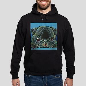 Rainbow Black Pug Hoodie