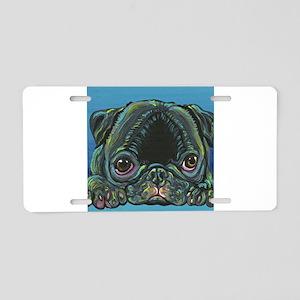 Rainbow Black Pug Aluminum License Plate