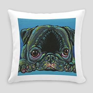 Rainbow Black Pug Everyday Pillow