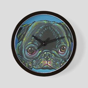 Rainbow Black Pug Wall Clock