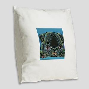 Rainbow Black Pug Burlap Throw Pillow