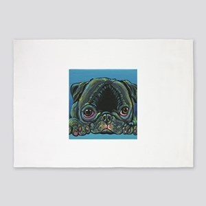 Rainbow Black Pug 5'x7'Area Rug
