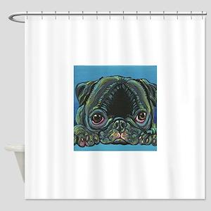 Rainbow Black Pug Shower Curtain