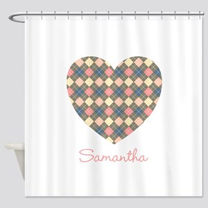Heart Shape Argyle Personalized Shower Curtain