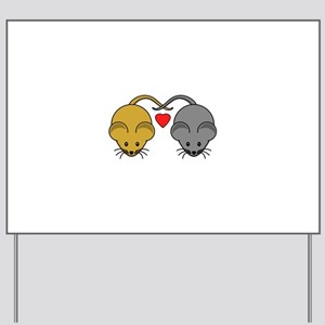 Mouse Couple of Brown and Black Mice Yard Sign
