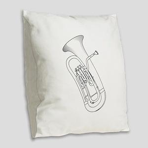 Euphonium Redwork Burlap Throw Pillow