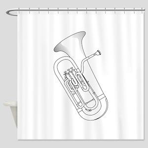 Euphonium Redwork Shower Curtain