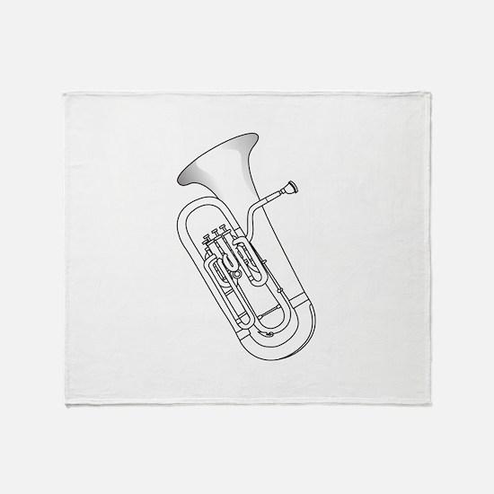 Euphonium Redwork Throw Blanket