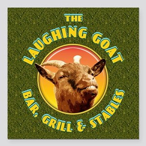"""Laughing Goat... Square Car Magnet 3"""" x 3"""""""