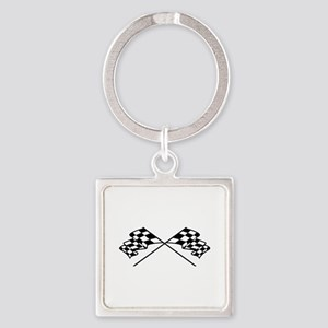 Crossed Racing Flags Keychains