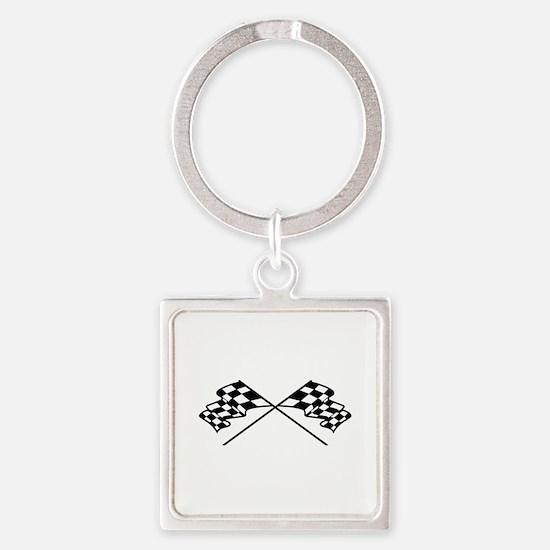 Crossed Racing Flags Keychains