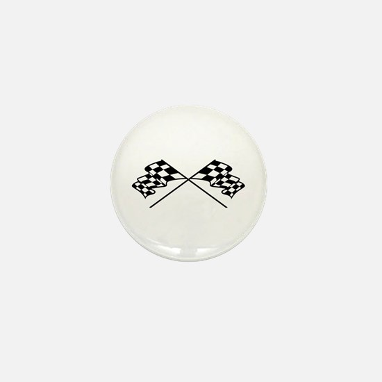 Crossed Racing Flags Mini Button