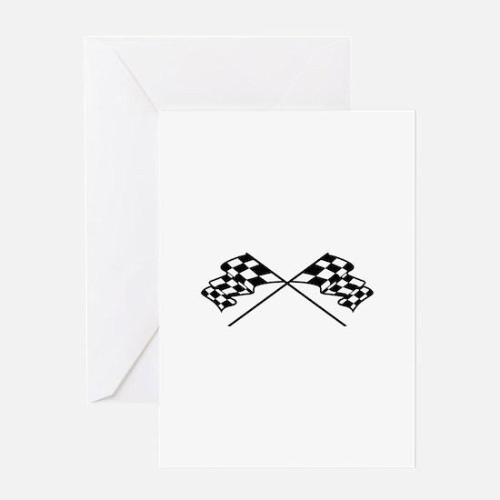 Crossed Racing Flags Greeting Cards