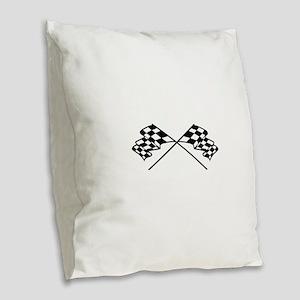 Crossed Racing Flags Burlap Throw Pillow
