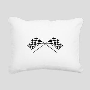 Crossed Racing Flags Rectangular Canvas Pillow