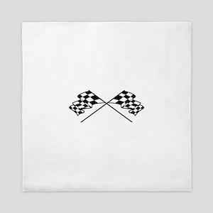 Crossed Racing Flags Queen Duvet