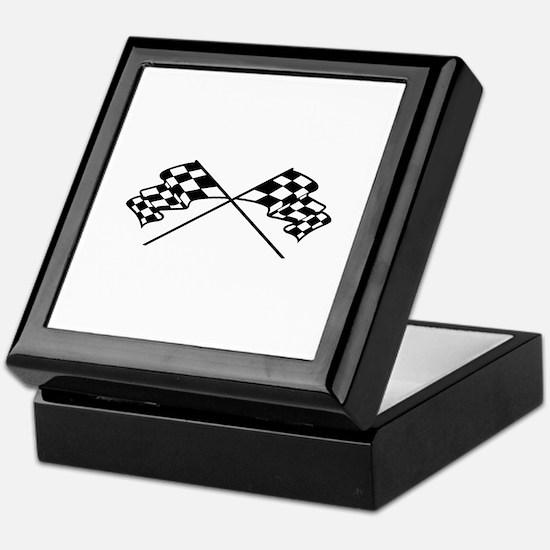 Crossed Racing Flags Keepsake Box