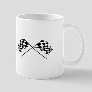Crossed Racing Flags Mugs