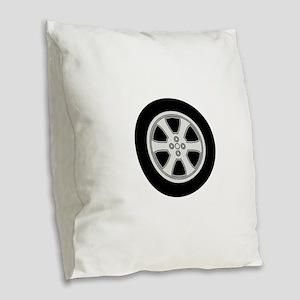 Wheel Burlap Throw Pillow