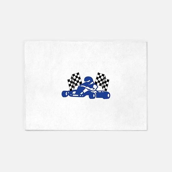 GoCart Racing Flags 5'x7'Area Rug