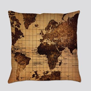 Vintage World Map Everyday Pillow