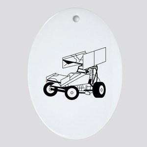 Sprint Car Outline Ornament (Oval)