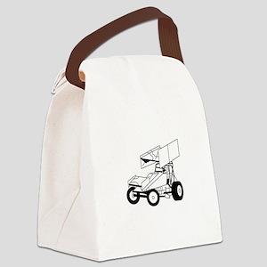 Sprint Car Outline Canvas Lunch Bag
