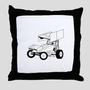 Sprint Car Outline Throw Pillow