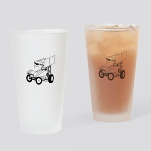 Sprint Car Outline Drinking Glass