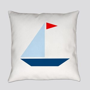 Red Flag Sail Boat Everyday Pillow