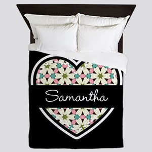 Personalized Stylish Black and White H Queen Duvet