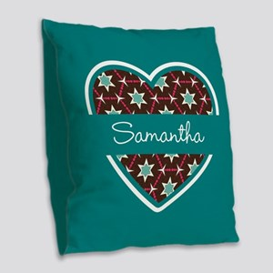 Personalized Teal Heart Patter Burlap Throw Pillow