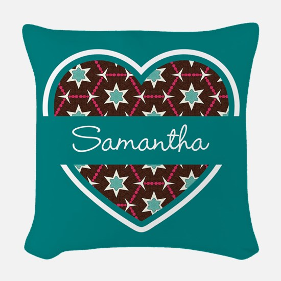 Personalized Teal Heart Patter Woven Throw Pillow