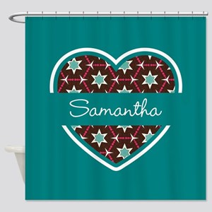 Personalized Teal Heart Pattern Shower Curtain