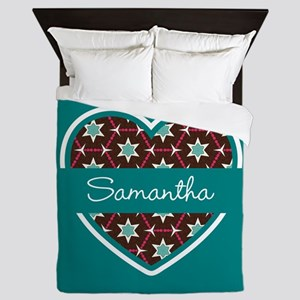 Personalized Teal Heart Pattern Queen Duvet
