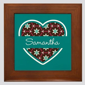 Personalized Teal Heart Pattern Framed Tile
