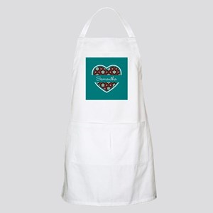 Personalized Teal Heart Pattern Apron