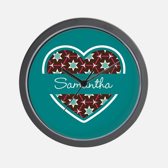 Personalized Teal Heart Pattern Wall Clock