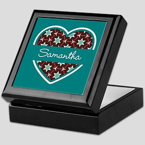 Personalized Teal Heart Pattern Keepsake Box