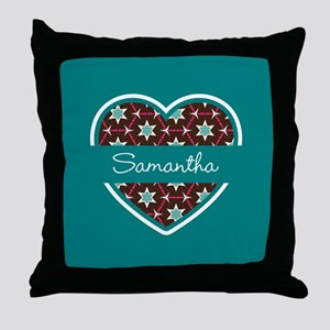 Personalized Teal Heart Pattern Throw Pillow