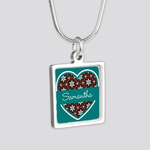 Personalized Teal Heart Pa Silver Square Necklace