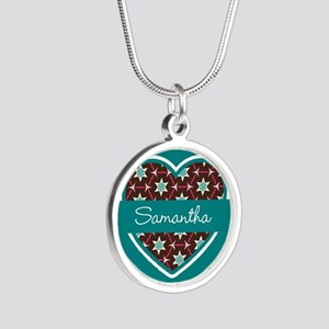 Personalized Teal Heart Patt Silver Round Necklace